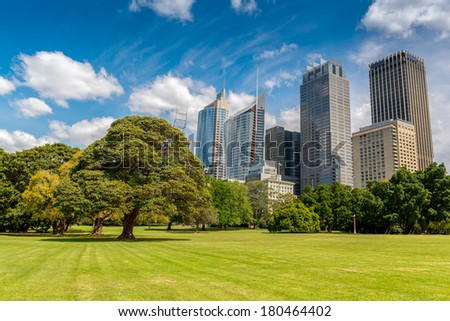 SYDNEY, AUSTRALIA - SEPTEMBER 18, 2013; Early morning parkscape view of the CBD Sydney. The park is Parade Ground, Royal Botanic Gardens on September 18 2013