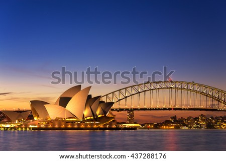 SYDNEY AUSTRALIA - SEPTEMBER 5, 2013 : Opera House view from Mrs Macquarie's Chair on twilight time in evening on September 5, 2013 in Sydney, Australia - stock photo