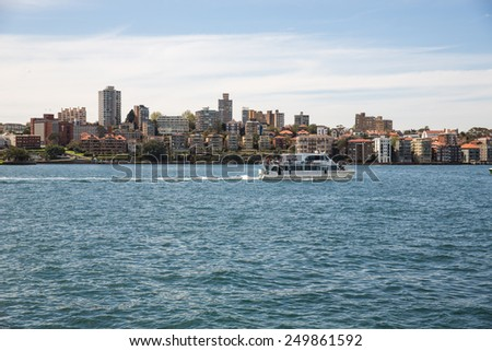 Sydney, Australia - September 21: View of a passenger boat near the Circular Quay in Sydney, Australia on September 21, 2014.