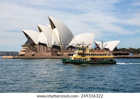 Sydney, Australia - September 19: View of a passenger ferry near the Opera House in Sydney, Australia on September 19, 2014.