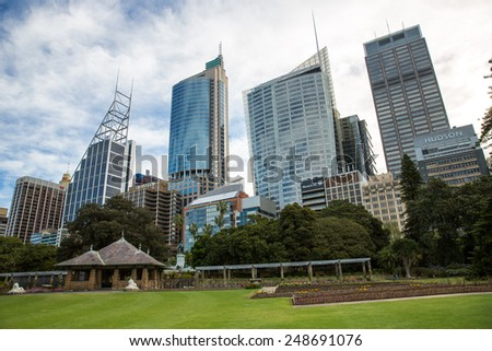 Sydney, Australia - September 19: View of the Central Business District in Sydney, Australia on September 19, 2014.