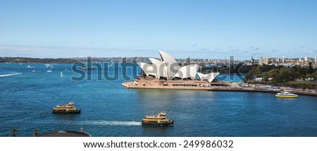 Sydney, Australia - September 19: View of the Opera House from the Harbour Bridge in Sydney, Australia on September 19, 2014. - stock photo