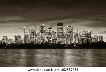 Sydney beautiful night skyline from Farm Cove.