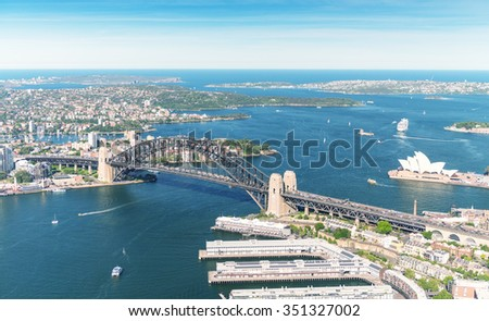 Sydney. Bird eye view from helicopter. - stock photo