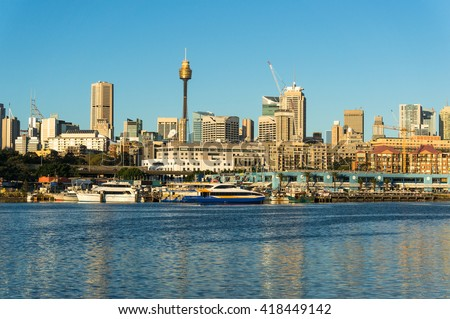 Sydney CBD city view of Sydney fish market and Central Business District as viewed from Blackwattle Bay. Office and residential skyscraper buildings of Sydney, NSW, Australia - stock photo