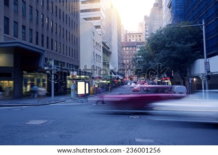Sydney city, a busy city road - stock photo