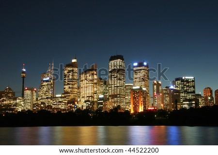 Sydney City at night. - stock photo
