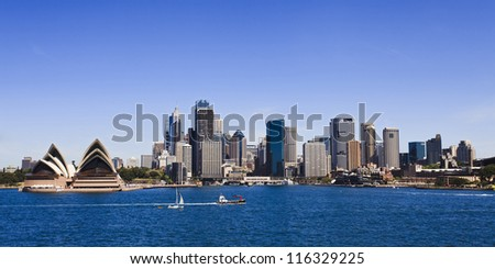 Sydney city CBD panoramic view sunny summer day blue sky and water over harbour australia landmark