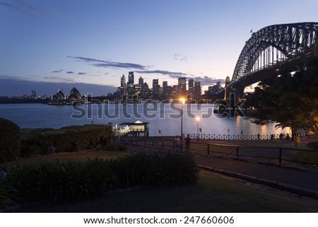 Sydney city night, North Sydney Lookout - stock photo