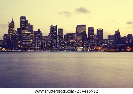 Sydney city skyline in the evening - stock photo