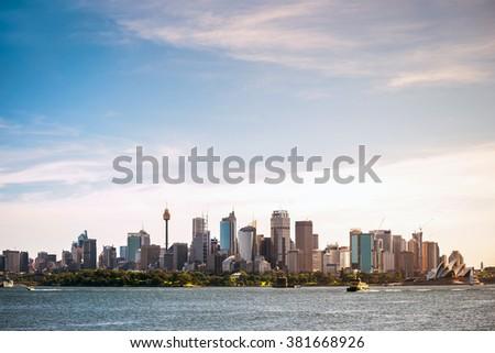 Sydney city skyline view from ferry - stock photo