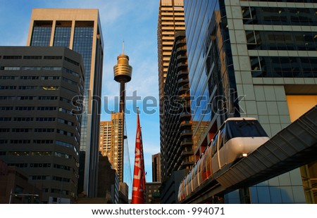 Sydney City, Sydney Tower and Monorail - stock photo