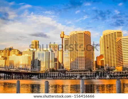 Sydney city with  late afternoon sun light - stock photo