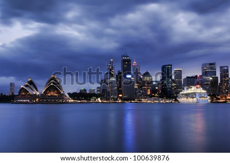 Sydney cityscape at night 2012 - stock photo