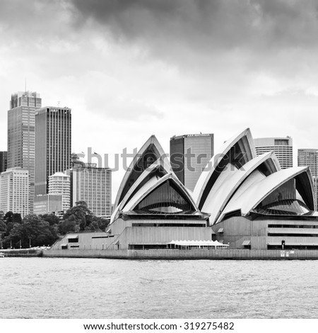 SYDNEY - DECEMBER 15: The Iconic Sydney Opera House is a multi-venue performing arts centre. Section of the ceramic, glazed roof tiles. December 15, 2011 in Sydney, Australia.  - stock photo