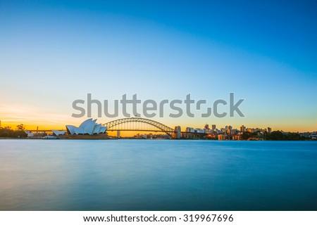 Sydney evening panorama view. - stock photo