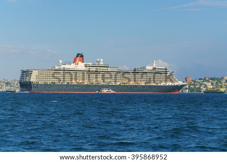 SYDNEY - FEB 21: MS Queen Elizabeth on Feb 21, 2016 in Sydney. She is a Vista-class cruise ship operated by the Cunard Line which is the second largest ship constructed for Cunard.