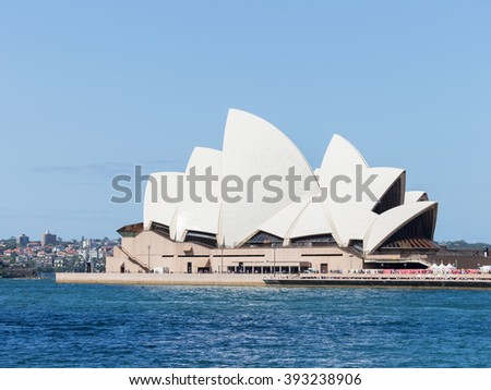 Sydney - February 27, 2016: Beautiful amazing Sydney Opera House with an unusual roof, with views of the Gulf, February 27, 2016, Sydney, Australia