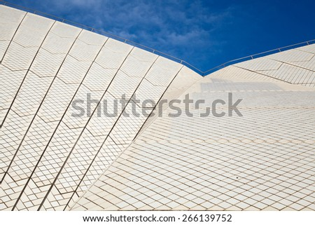 SYDNEY - FEBRUARY 8, 2013: Roof of The Sydney Opera House in Sydney, Australia on February 8, 2013. Designed by Danish architect Jorn Utzon; this year is celebrating the 40th opening anniversary. - stock photo