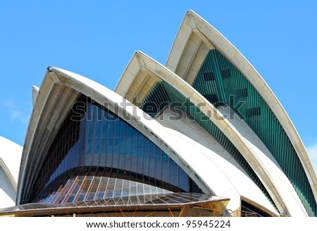 SYDNEY - FEBRUARY 12: Sydney Opera House view on February 12, 2012 in Sydney, Australia. The Sydney Opera House is a famous arts center. It was designed by Danish architect Jorn Utzon, finally opening in 1973. - stock photo