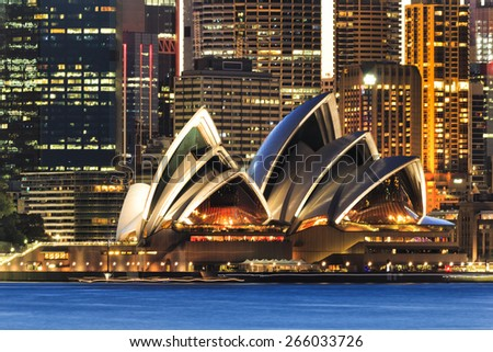 SYDNEY - FEBRUARY 7, 2015: The Sydney Opera House view from Cremorne Point in Sydney on February 7, 2015. It was designed by Danish architect Jorn Utzon.  - stock photo