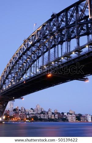 Sydney Harbor Bridge at Dusk, Australia - stock photo