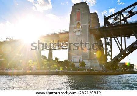Sydney Harbor Bridge at sunset - stock photo