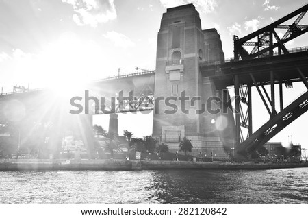 Sydney Harbor Bridge at sunset - stock photo