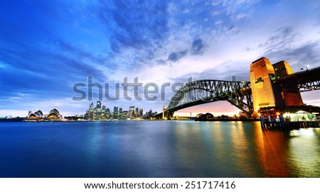 Sydney Harbor Panorama at twilight - stock photo