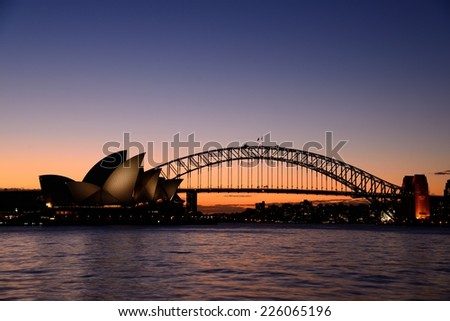 Sydney Harbour at dusk - stock photo