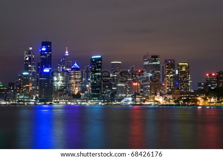 sydney harbour at night - stock photo