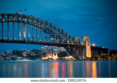 Sydney Harbour Bridge and Australian Sky, New South Wales Australia on December 26, 2011.
