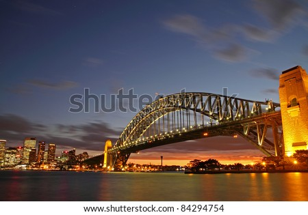 Sydney Harbour Bridge and CIty view - stock photo