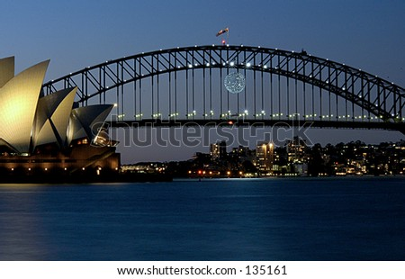 Sydney harbour bridge and Opera house. - stock photo