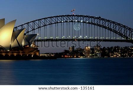 Sydney harbour bridge and Opera house. - stock photo