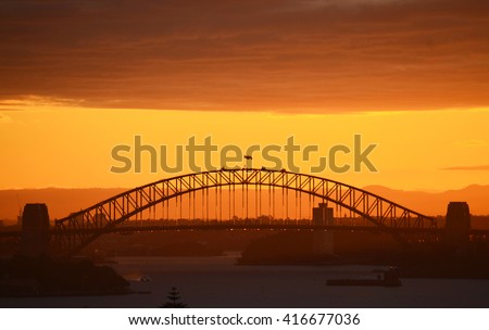 Sydney Harbour Bridge at sunset, Australia - stock photo