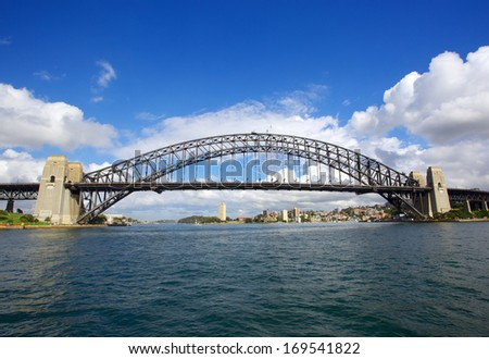 Sydney Harbour Bridge taken during the day with blue sky - stock photo