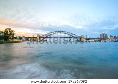 Sydney Harbour Bridge with City sunset, Sydney, Australia - stock photo