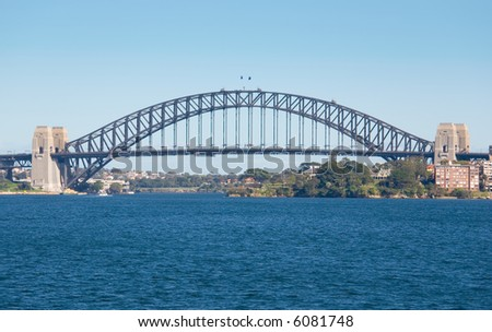 Sydney Harbour ( Harbor) Bridge on a clear blue Day