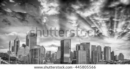 Sydney Harbour skyline at dusk, Australia. - stock photo