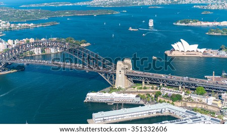 Sydney Harbour. Stunning aerial view on a sunny day. - stock photo
