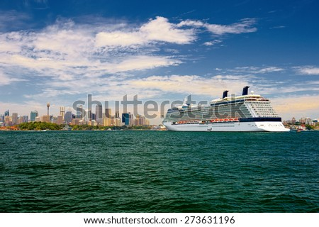 SYDNEY - JANUARY 1, 2015: The Sydney Harbour and the Sydney Opera House, viewed from Circular Quay in Sydney, Australia on JANUARY 1 , 2015. It was designed by Danish architect Jorn Utzon. - stock photo