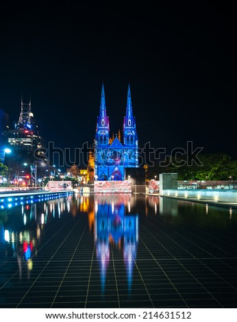SYDNEY - July 10:: The Christmas laser shoe at St.Mary's Cathedral in Sydney, The architecture of Cathedral is typical of the Gothic Revival of the 19th century l july 10, 2010 in Sydney, Australia. - stock photo