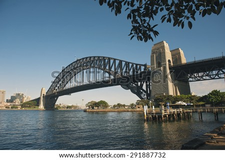 SYDNEY - JUNE 26: Sydney Harbour Bridge view on June 26, 2015 in Sydney, Australia. The Sydney Harbour Bridge is one of Australia's most well known and photographed landmarks.