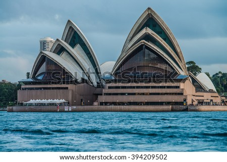 SYDNEY - MARCH 8: Close up view of the iconic Sydney Opera House on March 8, 2016 in Sydney, Australia. - stock photo