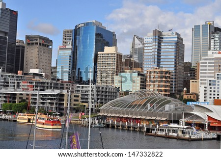 SYDNEY - MARCH 06: View of Sydney from Darling Harbour. Darling Harbour the city centre of Sydney is an area of entertainment facilities and a pedestrian walkway. March 06, 2012, Sydney, Australia.