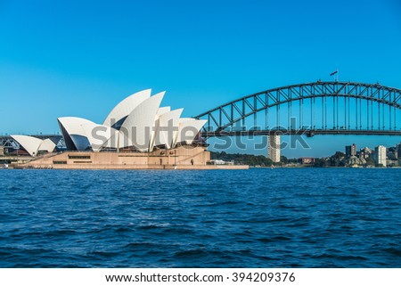 SYDNEY - MARCH 8: View of the iconic Sydney Opera House and the Harbour Bridge on March 8, 2016 in Sydney, Australia. - stock photo