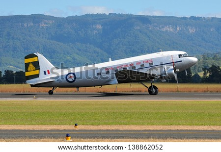 SYDNEY - MAY 5: A DC-3 Dakota military transporttaxies to the runway during the Wings Over Illawarra Airshow on May, 2013 near Sydney.