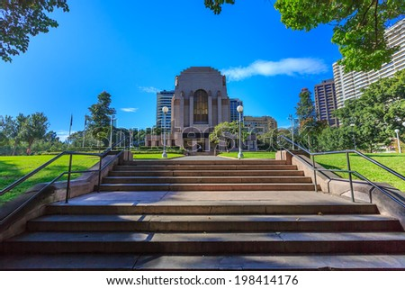 SYDNEY - MAY 10 : ANZAC war memorial at Hyde park, Sydney, Australia on May 10, 14. The memorial is the focus of commemoration ceremonies on Anzac Day, Armistice Day and other important occasions. - stock photo
