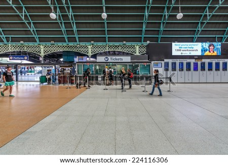 SYDNEY - MAY 12: Interior of Central Station on May 12, 2014 in Sydney.  The station is the largest railway station in Australia, services almost all of the lines on the Sydney Trains network. - stock photo